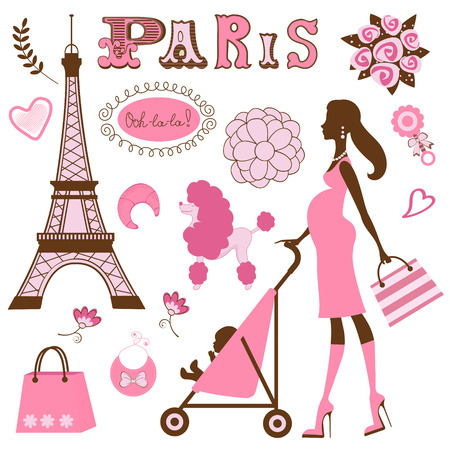 Illustration of mom to be in Paris  イラスト・ベクター素材