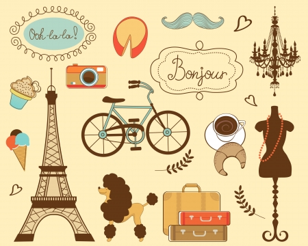 Illustration of paris related items Vector