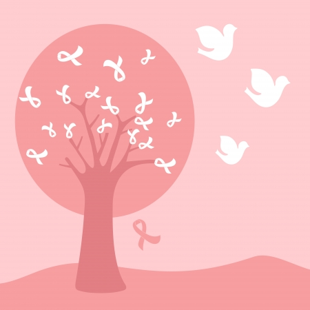 Pink breast cancer ribbon tree  Vector