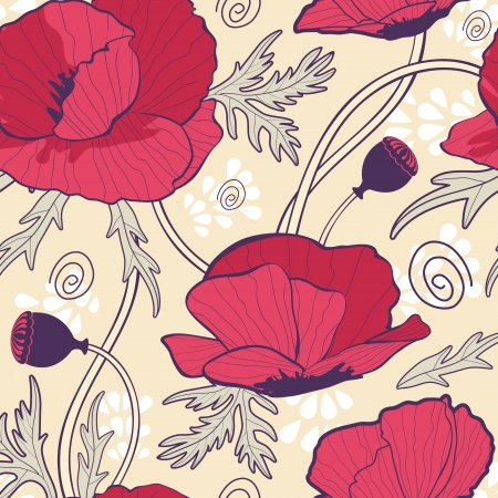 Elegant samless background with poppy flowers Vector