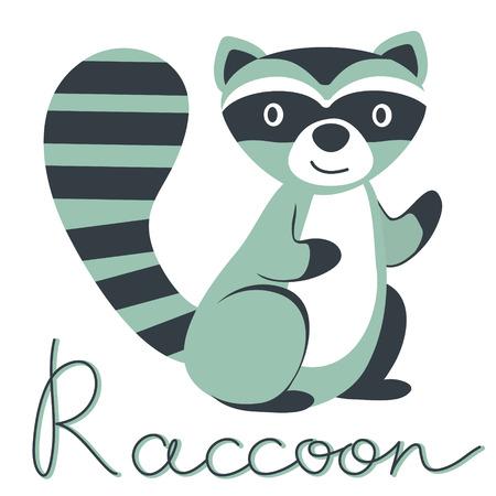 raccoon: Cute illustration of little raccoon