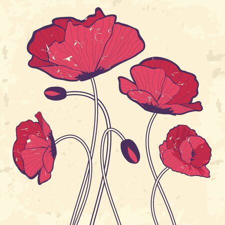 Retro style poppies Vector