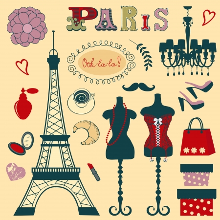 Shopping in Paris illustration Ilustracja