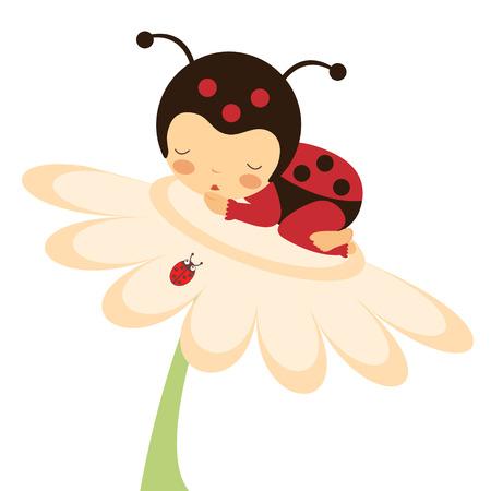 Illustratie van schattige baby lieveheersbeestje slapen