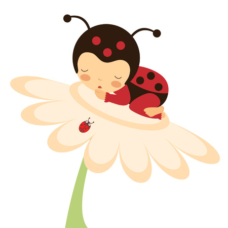 cartoon: Illustration of adorable baby ladybug sleeping
