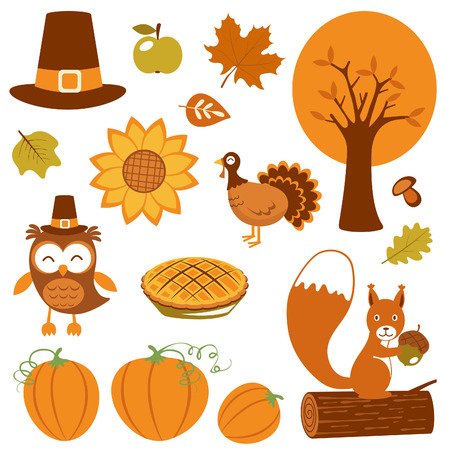 Cute Thanksgiving collection  Vector