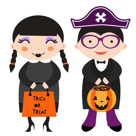 Illustration of cute Halloween kids Vector