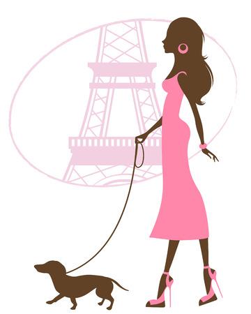 donne eleganti: Illustrazione di una bella donna con il bassotto a Parigi