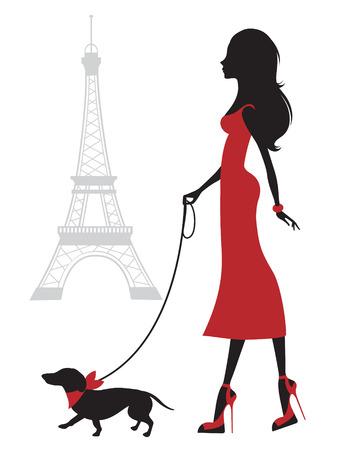 파리에있는 닥스 훈트와 함께 아름 다운 여자의 그림 일러스트