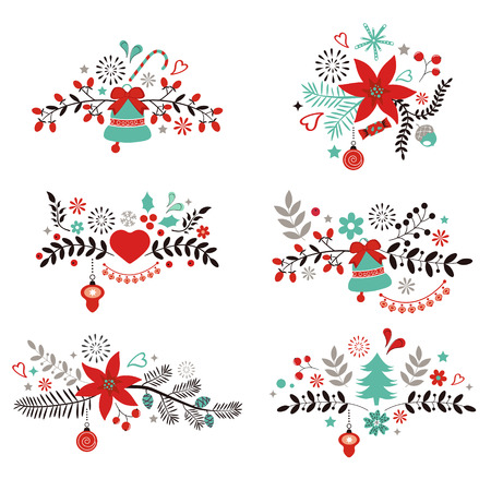Christmas and New year decorative elements collection Vector