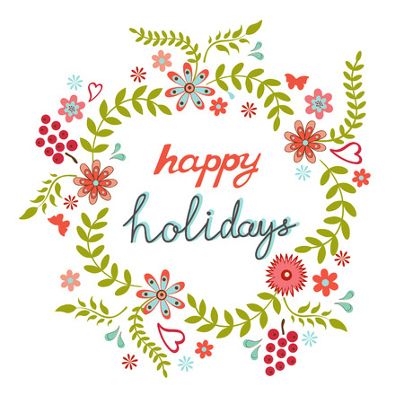 Round floral frame in a shape of wreath with happy holidays greeting Vectores
