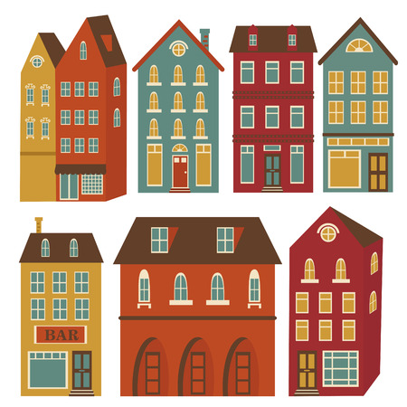 Cute houses set in vivid colors