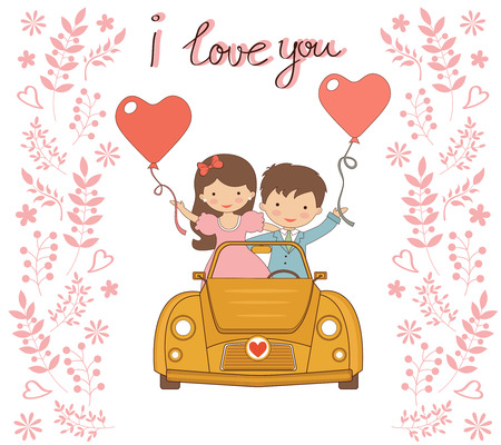 Illustration of happy couple in love driving with balloons Vector