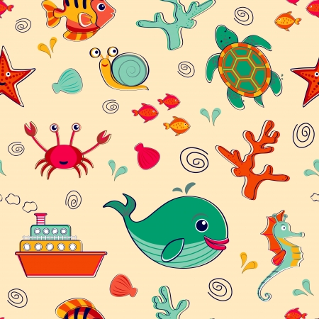 Sea life seamless pattern  Vector format Vector