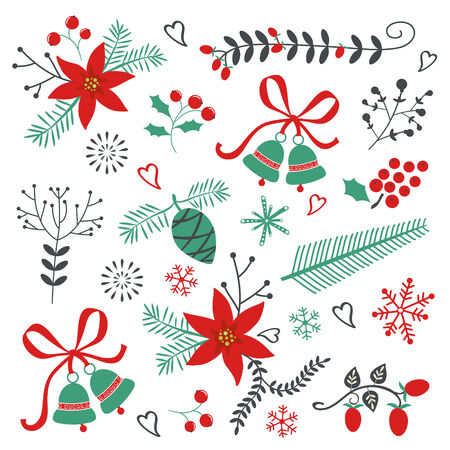 Cute Collection of beautiful Christmas and New year decorative elements Vector