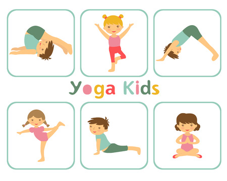 An illustration of little kids doing yoga Vector
