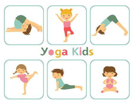 enfant  garcon: Une illustration de petits enfants faire du yoga