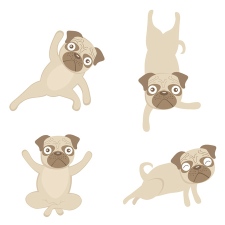An illustration of pugs doing yoga Vectores