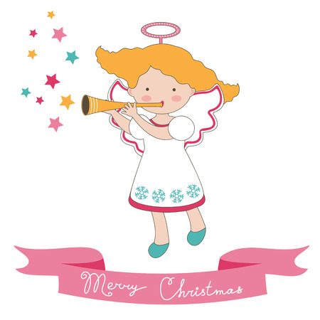 Cute Christmas card with little angel. Vector format Vector
