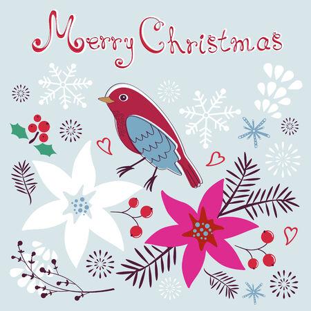little bird: Tarjeta de Navidad con flores y pajarito