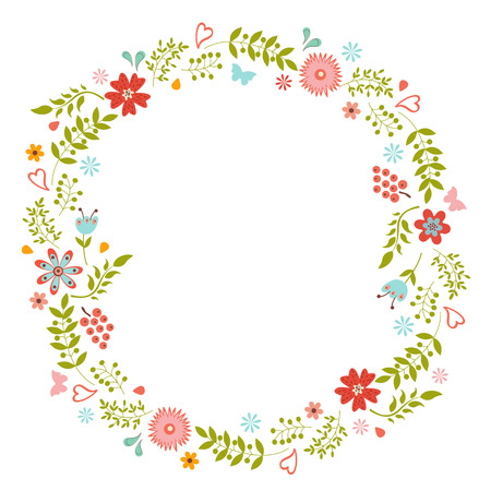 Elegant floral wreath  Ideal for wedding cards and  birthday wishes  Vector