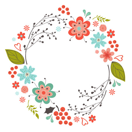 Beautiful flowers and twigs in a round composition Vectores