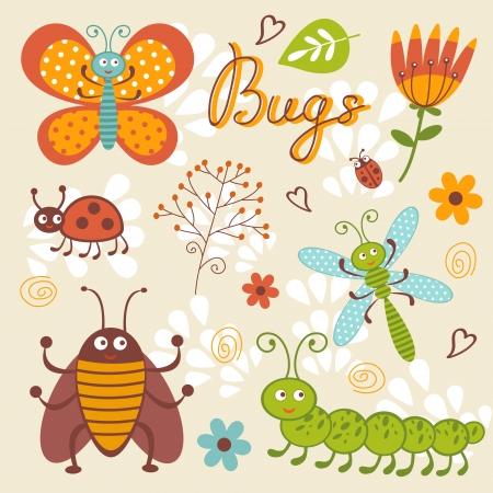 ant leaf: Colección de insectos formato vectorial Cute