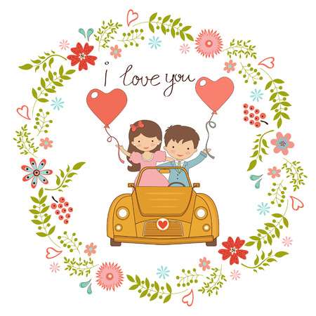 Happy couple in love Vector