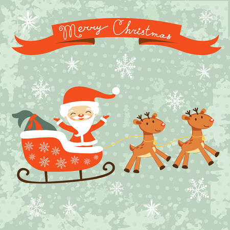 Merry Christams card with cute Santa Claus and deers Vector