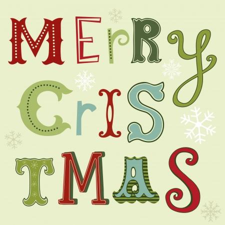 design design elemnt: Merry Christmas card with handwritten letters Illustration