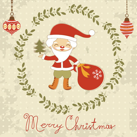 Christmas card with cute Santa Vector