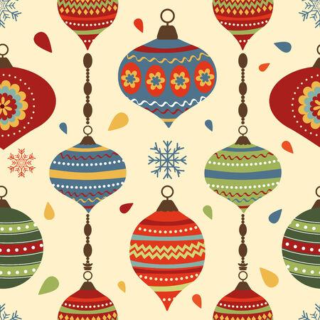 christmas  ornament: Stylish Christmas seamless pattern with Christmas decorative elements Illustration
