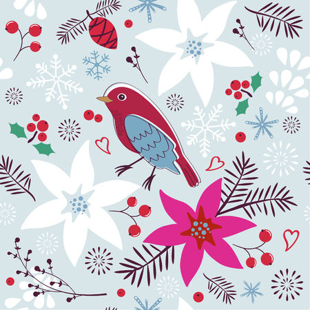 Christmas seamless pattern with bird and flowers Vector