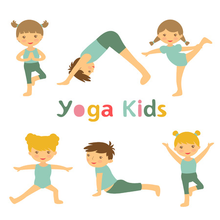 An illustration of cute yoga kids