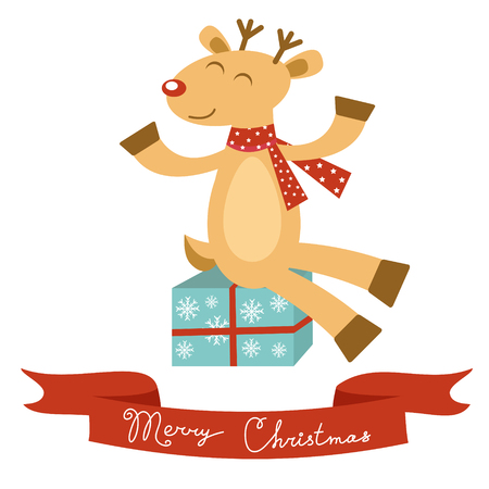 Colorful Christmas card with deer Vector