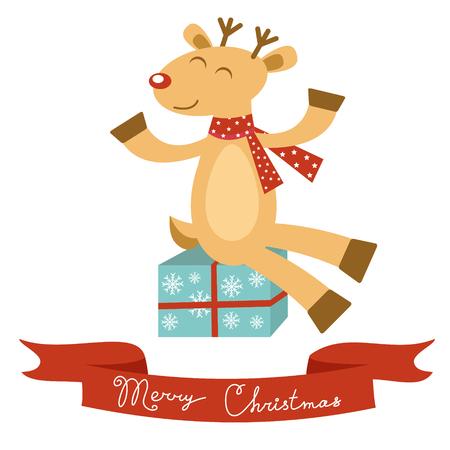 christma: Colorful Christmas card with deer