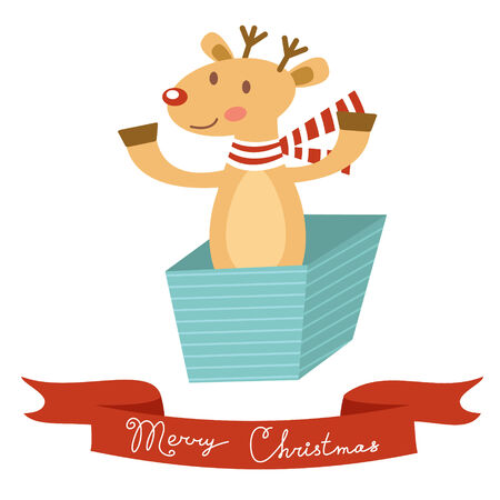 christma: Christmas card with cute deer in a box