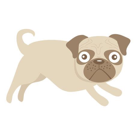 comix: Cute little pug dog illustration
