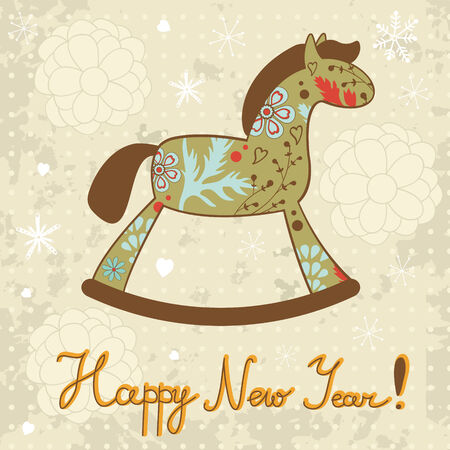 Rocking horse Happy New year card Vector