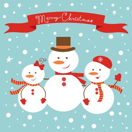 Cute frosty family Christmas card Stock Vector - 24561785