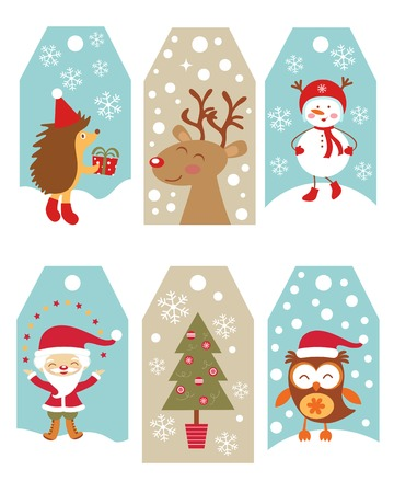 Cute collection of Christmas gift tags Vector