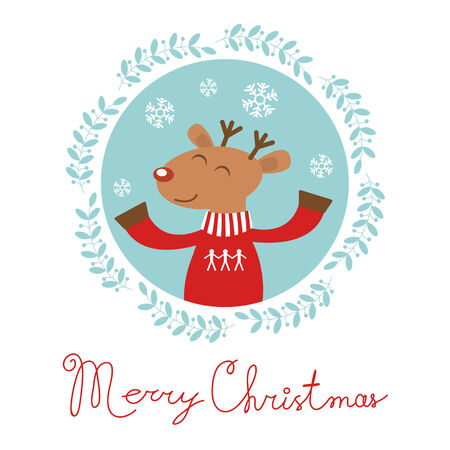 Christmas card with happy deer portrait Stock Vector - 24560701