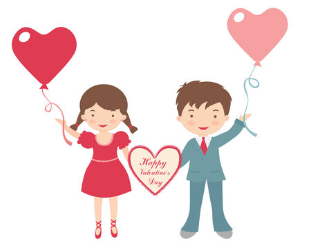balloon girl: An illustration of adorable couple holding a Valentine heart