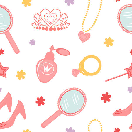 perfume atomizer: A seamless pattern with cute princess related elements