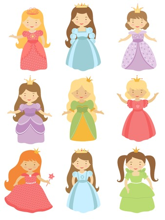 A cute collection of beautiful princesses Vector