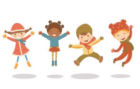 jumping kids: An illustration of jumping kids in winter Illustration