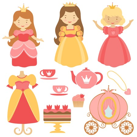 Cute princess party icons collection Vector