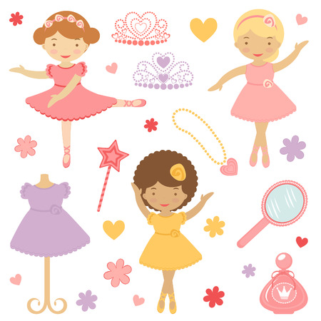 ballerina fairy: A Cute collection of little dancing ballerinas  Illustration