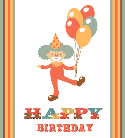 Happy birthday card with funny clown holding balloons Vector