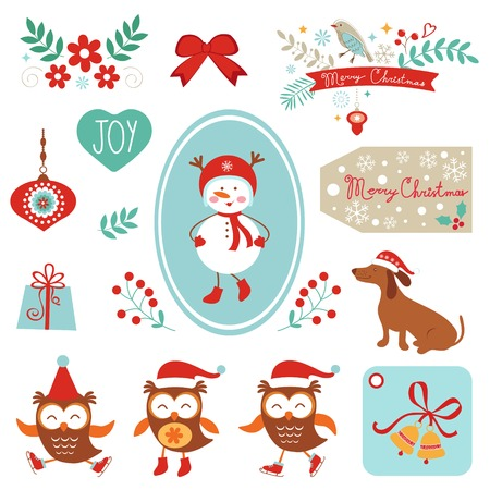 christmas owl: Christmas and new year graphic elements collection